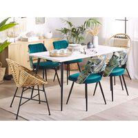 Conjunto de 2 cadeiras de jantar em veludo azul ANSLEY