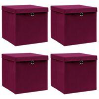 vidaXL Caixas arrumação c/ tampas 4pcs 32x32x32cm tecido vermelho esc.