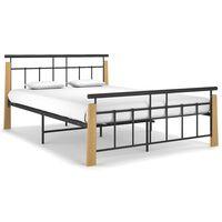 vidaXL Estrutura de cama 140x200 cm metal/madeira de carvalho maciça