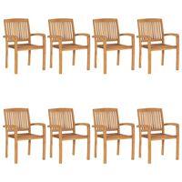 vidaXL Cadeiras de jardim empiháveis 8 pcs madeira teca maciça
