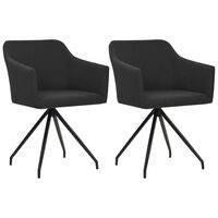 vidaXL Cadeiras de jantar giratórias 2 pcs tecido preto