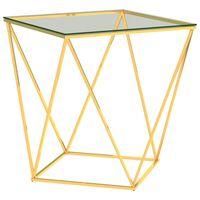 vidaXL Mesa de centro 50x50x55cm aço inoxidável dourado e transparente