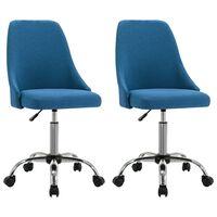 vidaXL Cadeiras de escritório com rodas 2 pcs tecido azul