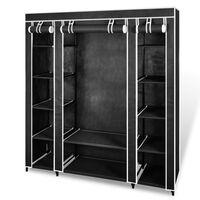 vidaXL Armário tecido com compartimentos e varões 45x150x176 cm preto