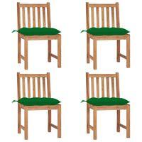 vidaXL Cadeiras de jardim c/ almofadões 4 pcs madeira de teca maciça