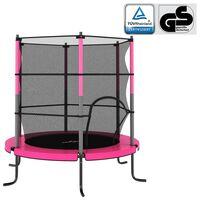 vidaXL Trampolim com rede de segurança redondo 140x160 cm rosa
