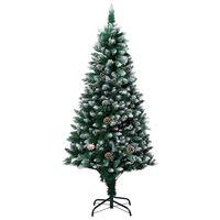 vidaXL Árvore de Natal artificial com pinhas e neve branca 150 cm