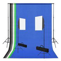 vidaXL Kit de estúdio fotografia com softbox de iluminação e fundos