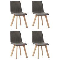 vidaXL Cadeiras de jantar 4 pcs tecido cinzento-acastanhado