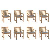 vidaXL Cadeiras de jardim c/ almofadões cinzento 8 pcs teca maciça