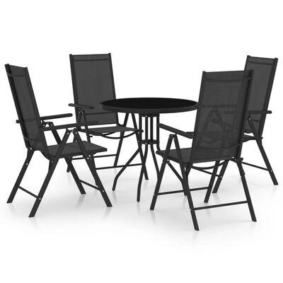 vidaXL 5 pcs conjunto de jantar para jardim alumínio e textilene preto