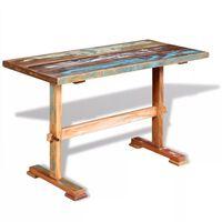 vidaXL Mesa de jantar pedestal 120x58x78 cm madeira recuperada maciça
