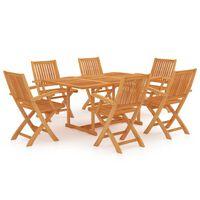 vidaXL 7 pcs conjunto de jantar para jardim madeira de teca maciça
