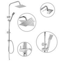 vidaXL Conjunto de duche com chuveiro fixo e de mão aço inoxidável