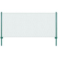 vidaXL Cerca de arame com postes aço 25x0,5 m verde