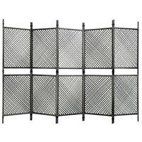 vidaXL Divisória de quarto com 5 painéis 300x200 cm vime PE antracite
