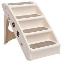 vidaXL Escadas para cães dobráveis 62x40x49,5 cm cor creme