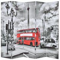 vidaXL Biombo dobrável autocarro londrino 200x170 cm preto e branco