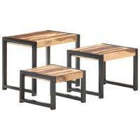 vidaXL Mesas de encastrar 3 pcs madeira maciça c/ acabamento sheesham