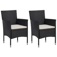 vidaXL Cadeiras de jantar para jardim 2 pcs vime PE preto