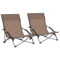 vidaXL Cadeiras de praia dobráveis 2 pcs tecido cinzento-acastanhado