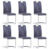 vidaXL Cadeiras de jantar cantilever 6 pcs camurça artificial cinzento