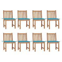 vidaXL Cadeiras de jardim 8 pcs c/ almofadões madeira de teca maciça
