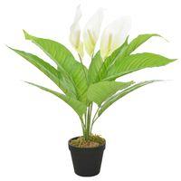 vidaXL Planta antúrio artificial com vaso 55 cm branco