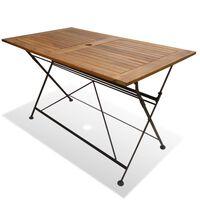 vidaXL Mesa de jardim dobrável 120x70x74 cm madeira de acácia maciça