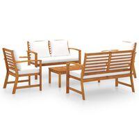 vidaXL 5 pcs conjunto lounge de jardim com almofadões acácia maciça