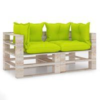 vidaXL Sofá de paletes jardim 4 lugares c/ almofadões madeira de pinho