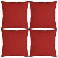 vidaXL Almofadas decorativas 4 pcs 40x40 cm tecido vermelho