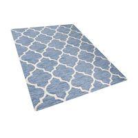 Tapete azul claro de pelos curtos - Feito à mão - Algodão e lã - 160x2