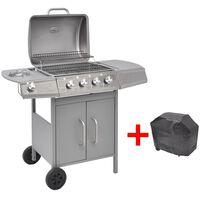 vidaXL Grelhador/barbecue a gás 4+1 queimadores prateado