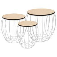 vidaXL Conjunto de mesas de centro 3 pcs contraplacado de álamo/ferro