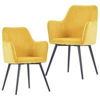 vidaXL Cadeiras de jantar 2 pcs veludo amarelo