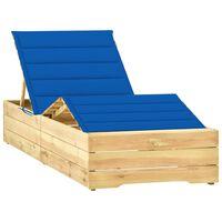 vidaXL Espreguiçadeira com almofadão azul real pinho impregnado