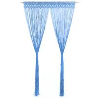 vidaXL Cortina macramé 140x240 cm algodão azul