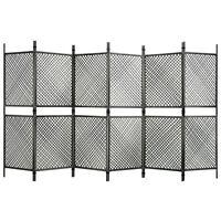 vidaXL Divisória de quarto com 6 painéis 360x200 cm vime PE antracite