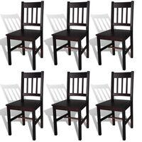 vidaXL Cadeiras de jantar 6 pcs madeira de pinho castanho-escuro