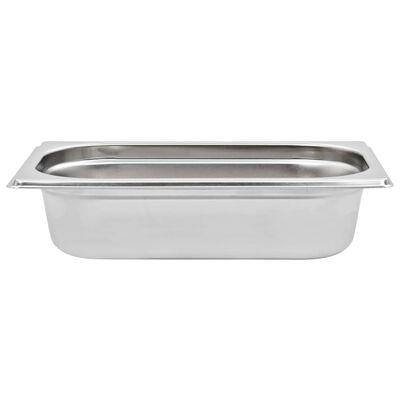 vidaXL Recipientes gastronorm 8 pcs GN 1/4 65 mm aço inoxidável