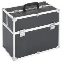vidaXL Caixa de maquilhagem 37x24x35 cm alumínio preto