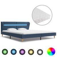vidaXL Cama com LED e colchão 180x200 cm tecido azul