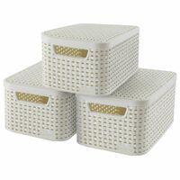 Curver Caixa de arrumação Style com tampa 3 pcs tam. S branco 240586