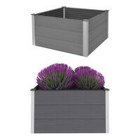 vidaXL Canteiro elevado para jardim WPC 100x100x54 cm cinzento