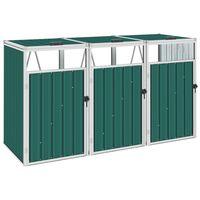 vidaXL Abrigo para caixote do lixo triplo 213x81x121 cm aço verde