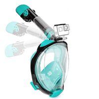 Máscara de snorkel com suporte para câmera - turquesa - S / M