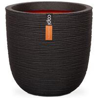 Capi Vaso oval Nature Rib 54x52 cm preto KBLR935