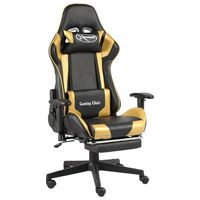 vidaXL Swivel Gaming Chair with Footrest Gold PVC