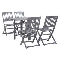 vidaXL 5 pcs conjunto de jantar jardim madeira acácia maciça cinzento